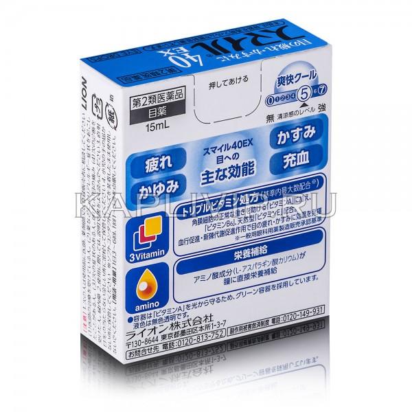 """Купите освежающие глазные капли LION Smile 40 EX Cool с формулой """"тройной витамин"""". Действенная забота о глазах!"""